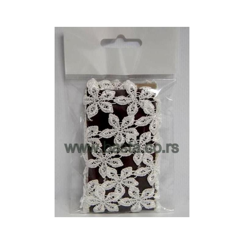 Traka čipka cvetići beli 2,6cm*2m 4781