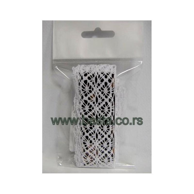 Traka čipka heklana bela i krem 5057/5055 3,5cm*2m