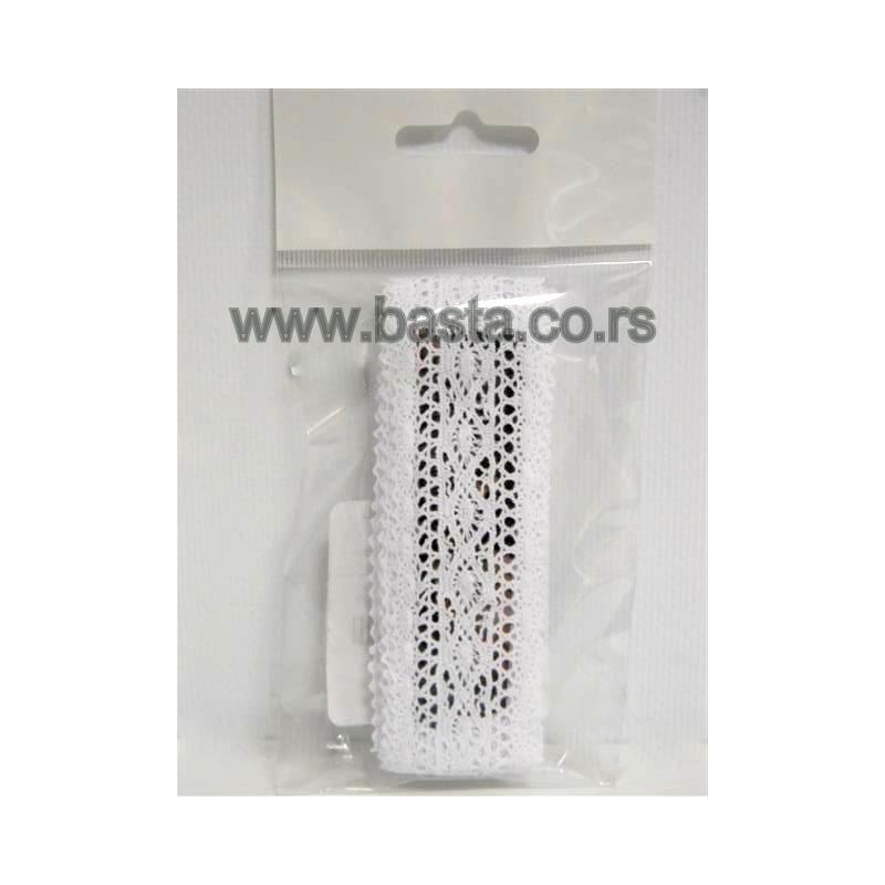 Traka čipka heklana bela i krem 5326 3,5cm*2m